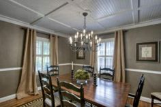 Dining Room. Love the brown with the chair rail and ceiling.