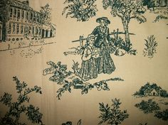 Classic Toile Cotton Fabric - Sewing Craft Supplies - pinned by pin4etsy.com