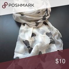 Black & Cream Bow Scarf Brand new black & cream pinup bow print sheer chiffon neck scarf .. perfect accessories for fall Forever 21 Accessories Scarves & Wraps