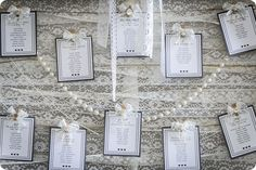 table plan with lace and pearls