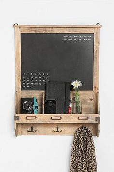 """bookshelf, coat rack, calendar, and note board from handcrafted wood? Oh, I love beautiful things with multiple uses. :) """"Vintage Wood Calendar Chalkboard"""" via urban outfitters Affordable Home Decor, Home And Deco, Vintage Wood, Vintage Chalkboard, Kitchen Chalkboard, Chalkboard Ideas, Chalkboard Paint, My New Room, Little Houses"""