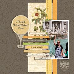 Trevi Fountain in Rome scrapbook layout by Julie Walton.  Beautifully made with yellow and brown cardstocks.  Find your elegant colors at www.cardstockshop.com.