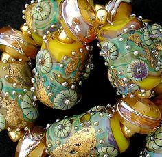 DSG Beads Handmade Organic Lampwork GlassYellow by debbiesanders, $105.00