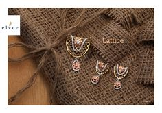 In Lattice collection this precious diamond studded and lattice worked jewellery is awesome for you and your favourite. Pendant Earrings, Pendant Jewelry, Gold Jewelry, Fine Jewelry, India Jewelry, Jewellery, Gold Ring Designs, Gold Earrings Designs, Gold Pendent