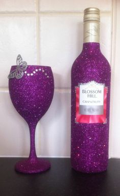 Glitter Wine Glass with Free Decorative Bottle Birthday, Anniversary, Engagement