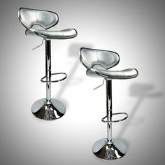 2 NEW Silver Bar Stools Barstools Modern Adjustable Counter Height Swivel Trim | eBay