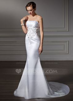 Trumpet/Mermaid Strapless Chapel Train Satin Wedding Dress With Embroidered Ruffle Beading (002004485)