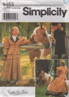 Simplicity 9453 Misses Carriageand  Buggy Coat  Full Length Frontier Style Pattern Cattle Kate  womens sewing pattern by mbchills