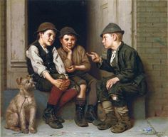 'Plotting Mischief', Oil On Canvas by John George Brown (1831-1913, United Kingdom)