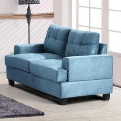 Red Barrel Studio Amberwood Loveseat Upholstery: Aqua