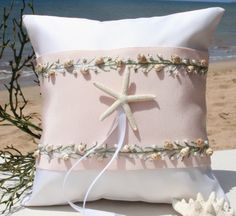 Beach Wedding Ring PillowVintage Ribbon by SHELSEASTUDIO on Etsy