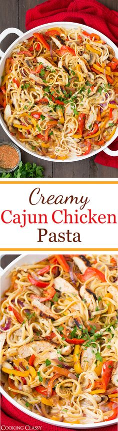 Creamy Cajun Chicken Pasta - this pasta is seriously AMAZING! Linguine covered in a lighter alfredo style sauce with cajun seasoning, and grilled chicken, sauteed peppers, mushrooms and onions. USE GF PASTA. Pasta Recipes, Chicken Recipes, Dinner Recipes, Cooking Recipes, Healthy Recipes, Water Recipes, Chicken Alfredo Recipe With Vegetables, Cajun Cooking, Cajun Food
