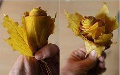 Frunze pastelate transformate in trandafiri decorativi – idei creative Deloc complicat, iata cum putem transforma frunzele pastelate in trandafiri decorativi. Proiecte si idei creative de toamna http://ideipentrucasa.ro/frunze-pastelate-transformate-trandafiri-decorativi-idei-creative/