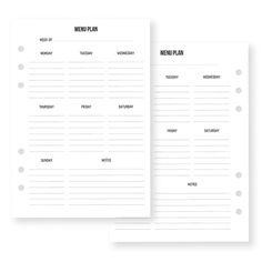 Menu Planning Inserts | Simple Stories