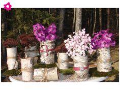Centros mesa boda con bases de troncos