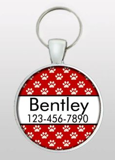 Pet ID - Pet Tag - Dog Name Tag - Dog ID - Pet I.D. Tag - Dog Tag for Dogs - Red Dog Tag - Gifts Under 10 -Design No. 273