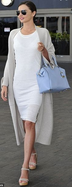 Miranda Kerr in a t-shirt dress at LAX - celebrity street style