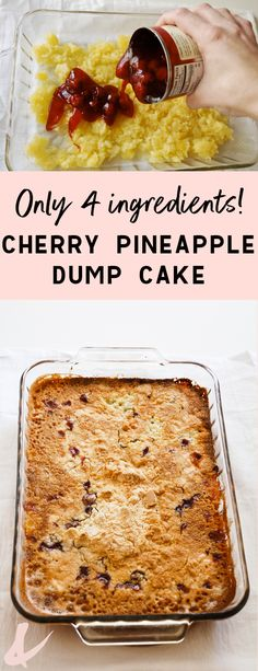 Delicious Cherry Dump Cake Recipe that only uses 4 ingredients! We love this easy yellow cake mix dessert idea!