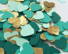Gold and Teal Confetti Circles with Shiny Gold by WildfireEvents