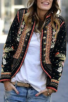 Shopping Long Sleeve Floral Embroidery Blazer Outerwear online with high-quality and best prices Blazers at Luvyle. Black Women Fashion, Look Fashion, Womens Fashion, High Fashion, Fashion 2017, Look Boho Chic, Estilo Hippie, Printed Blazer, Jacket Brands