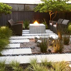 Contemporary Landscape Design, Pictures, Remodel, Decor and Ideas - page use of different material for ground cover. Outdoor Rooms, Outdoor Gardens, Outdoor Living, Backyard Seating, Fire Pit Backyard, Backyard Retreat, Small City Garden, Dream Garden, Modern Landscaping