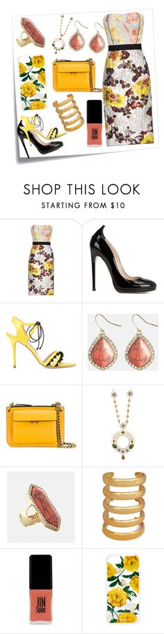 """My Lovely Dress..**"" by yagna ❤ liked on Polyvore featuring Post-It, Oscar de la Renta, Chloe Gosselin, Manolo Blahnik, Avenue, Marni, Dolce&Gabbana, Aurélie Bidermann, JINsoon and Sonix"