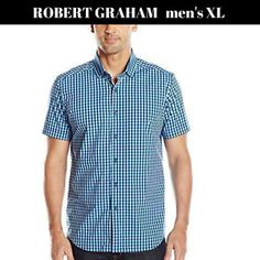 Robert Graham Abner Woven Tailored Fit Teal S/s Checks Shirt Sz XL for sale online Robert Graham, Best Mens Fashion, Check Shirt, Online Price, Teal, Men Casual, Best Deals, Fitness, Mens Tops