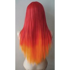 Red Orange hair Ombre wig. Long straight hair Long bangs Durable Heat... ($140) ❤ liked on Polyvore featuring beauty products, haircare, hair styling tools and hair