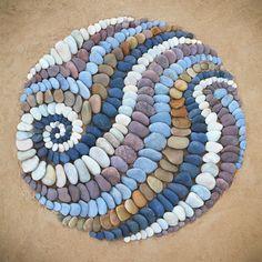Stone - Jon Foreman Pebble Mosaic, Stone Mosaic, Pebble Art, Mosaic Art, Rock Mosaic, Stone Crafts, Rock Crafts, Land Art, Art Plage