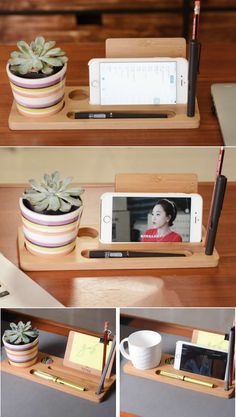 Bamboo Wooden Pen Pencils Holder Cell Phone Holder and Slots for Cup Office Desk Organizer