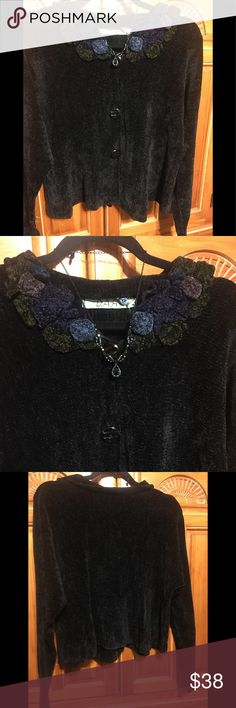 DAR Anthropologie Black Chenille Cardigan D.A. R. Anthropology Black Chenille Cardigan long sleeves with blue green purple Rosettes at Neckline.  NWOT never worn.   Preowned in excellent condition.  Soft comfy Chenille with 3 buttons that  curves out at bottom.  Nice to wear with jeans or a black skirt or pants.  Very nice and a great buy!!!   Size Medium to large ... 20 inches in length and width 21 inches under arms across and flares out at bottom and measures 26 in across.  Sleeves are 21…