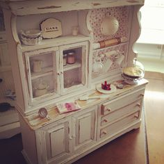 Cottage shabby baking hutch 1:12 by It's a miniature life...is playing with clay, via Flickr