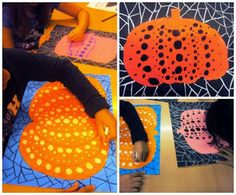 I like this but have no clue how I could get kids to do this. Plastiquem: The work of YAYOI KUSAMA. Pumpkins in the style of Kusama. Fall Art Projects, School Art Projects, Yayoi Kusama Pumpkin, Arte Elemental, Third Grade Art, October Art, Ecole Art, Pumpkin Art, Art Curriculum