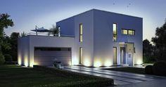 Massivhaus Kern-Haus Bauhaus Novum Eingangsseite Abendansicht