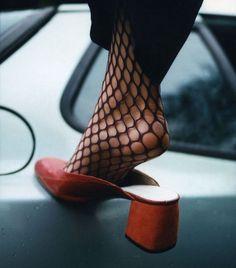 red mules & black tights. @fleurdemode