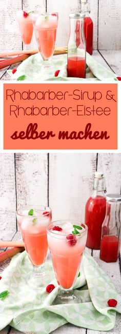 Rhabarber-Sirup und Rhabarber-Eistee selber machen Spring has so many great types of fruit and vegetables, such as rhubarb. Whether in cake, in dessert or like here as rhubarb syrup and iced tea! Drinks Alcohol Recipes, Non Alcoholic Drinks, Cocktail Recipes, Rhubarb Curd, Rhubarb Syrup, Winter Drinks, Summer Cocktails, Frozen Cocktails, Healthy Eating Tips