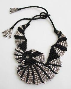 Freeform Beaded Macrame Necklace in Black Silk by TammyTJewelry,