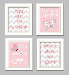 Quad infantiles rosa y gris vivero arte hermoso por ChicWallArt