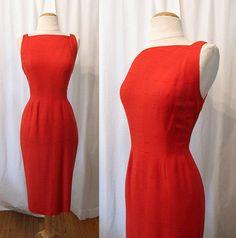 Sexy 1950's Tomato Red Wiggle Dress by Sue Brett by wearitagain, $148.00