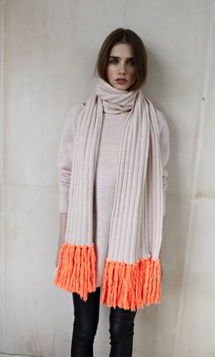 Neon Fringe Scarf - thrifted neutral scarf...fringe bottom with purchased neon yarn