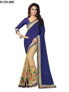 Indian Designer Chiffon Ethnic Wear Bollywood Saree Party Wear Navy Blue & Beige #RadhaKrishnaExports #BollywoodSaree #PartyWear