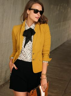 This mustard blazer is great for fall, both in and out of the office.