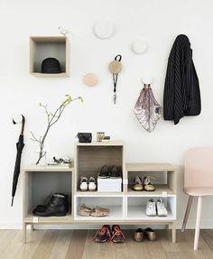 flur möbel schuhschrank skandinavisches design kleiderhaken