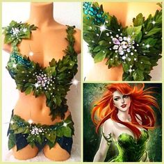 Items similar to Poison Ivy Costume - Poison Ivy Bra - Sexy Rave Outfit - Rave Bra and bottoms -Batman on Etsy Halloween Karneval, Halloween Kostüm, Halloween Cosplay, Halloween Costumes, Edm Outfits, Rave Costumes, Girl Costumes, Poison Ivy Kostüm, Halloween Outfits