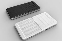 """Braille Mobile Phone - This device has two main pieces. The first is comprised of 35 braille buttons in five rows. Since the main keyboard cannot hold the entire braille text, there are also raised """"scroll up"""" and """"scroll down"""" buttons for more options. The second piece is similar to the touch screen on many smart phones, but with a unique raised surface for information input."""