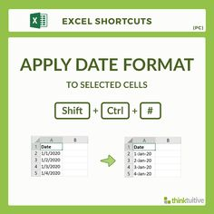 Excel keyboard shortcut to apply date format to selected cells. Visit thinktuitive.com for more excel shortcuts!