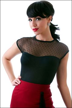 """Rockabilly Clothing & Pinup Clothes: A Rockabilly Pinup Shop: Cute Mesh """"Miss Fancy"""" Top from Rock Steady Clothing"""