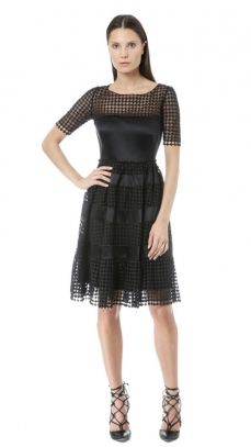 Catherine Malandrino/Black Label: JASMINE - Lace And Silk Tiered Cap Sleeve Fit And Flare Dress - SEE MORE FROM THIS LABEL