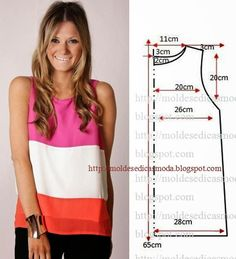 Escolha três das suas cores preferidas e faça uma bela blusa. Esta blusa é intemporal. É muito versátil porque faz coordenado com uma calça jeans ou com um
