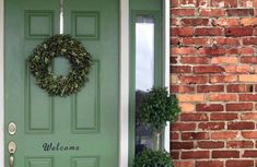 Front Door Colors For Brick Houses. Our Top front door colors for homes with red brick. Pick the perfect color for the front door of your brick house. Best Front Door Colors, Best Front Doors, Green Front Doors, Front Door Paint Colors, Painted Front Doors, House Shutter Colors, Orange Brick Houses, Brick House Colors, Green Shutters
